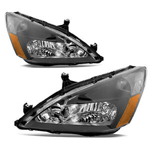 Headlight Assembly For 03 07 Honda Accord Black Housing Headlamps Amber Corner