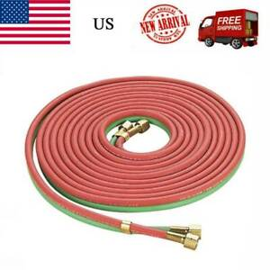 25 1 4 Twin Welding Torch Hose Oxygen Acetylene Oxy For Cutting red Green p