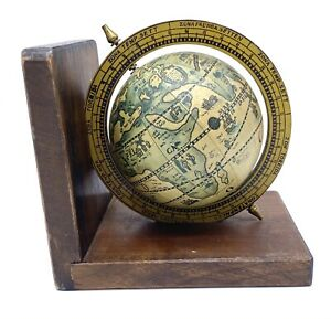 Vintage Terrestrial Zona Terrida Book End Small Globe Made In Italy