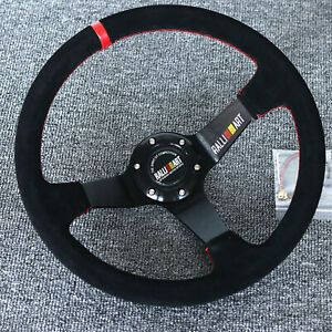 14 universal Ralliart Racing Red Ring Suede Leather Deep Dish Steering Wheel