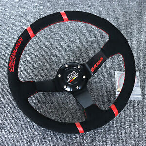 14 universal Mugen Racing Red Ring Suede Leather Deep Dish Steering Wheel