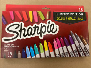 Sharpie18 Permanent Markers Fine Point Tip New 4 Metallic Colors Limited Edition