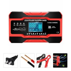Smart Automatic Car Battery Charger 12 24v 8a Touch Screen Pulse Repair Agm gel