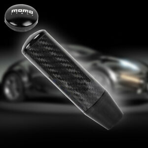 Universal Momo Black Carbon Fiber Manual Gear Stick Shift Knob Lever Shifter 5