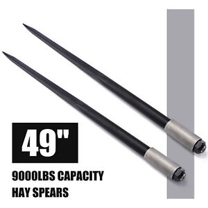 49 9000lbs Hay Spears Nut Bale Spike Fork Tine Black Pair Square Wide Tine