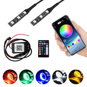 Rgb Led Demon Eye Light Bluetooth App Control For Headlight Projector Lamp Kit