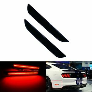 2x Black Lens Led Rear Bumper Reflector Tail Brake Light For Ford Mustang 2015