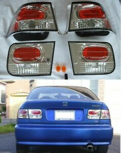 Fits 1996 2000 Honda Civic Dx Hx Ex Si Jdm 2 Door Coupe Euro Style Tail Lights