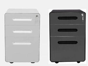 Apexdesk 3 drawer Metal Mobile File Cabinet With Locking Keys And Caster Wheels
