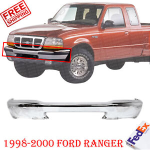 Front Bumper Chrome With Pad Holes For 1998 2000 Ford Ranger Styleside