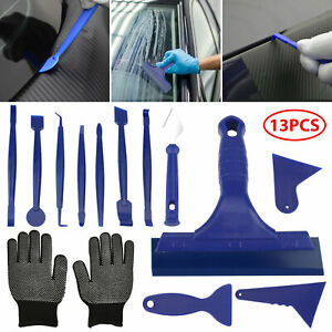 13pcs Set Car Window Film Tint Tools Kit Blue Gloves Vinyl Wrap Squeegee Scraper