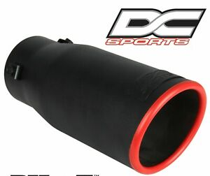 Dc Sports Black Red Universal Bolt On Stainless Steel Exhaust Tip Ex 1010br