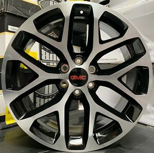 26 Gmc Sierra Yukon Snowflake Black Machine Wheels Tires Rims Chevy Silverado