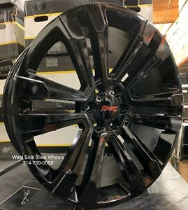 24 Gloss Black Gmc Sierra Wheels Chevy Silverado Tahoe Rims Escalade Dodge New