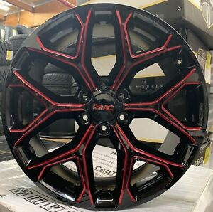 22 Gmc Sierra Yukon Snowflake Black Red Milled Wheels Chevy Tahoe Ram New 6lugs