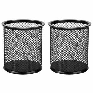 2 Pack Black Wire Mesh Pen Cup Pencil Holder Desktop Organizer For Office Home