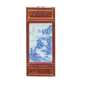 Vintage Chinese Wood Frame Porcelain Mountain Scenery Wall Plaque Panel Cs6007