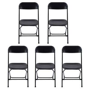 5pcs Commercial Black Plastic Folding Chairs Stackable Wedding Party Chair