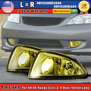 For 2004 2005 Honda Civic Jdm Yellow Bumper Fog Lights Lamps W wiring switch 2pc