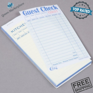 Carbonless Guest Check Book Menu Prompts 2 Part Green White 50 Bound 2500 Checks