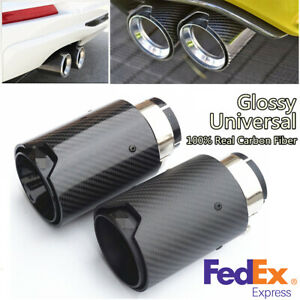 Real Carbon Fiber M Performance Car Exhaust Pipe End Tips Glossy Black For Bmw