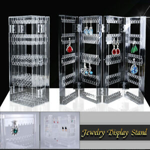Foldable 250 Earrings Stud Necklace Jewelry Display Rack Stand Organizer Holder