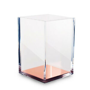 Deluxe Acrylic Pen Holder Crystal Clear Square Pencil Cup Rose Gold Base