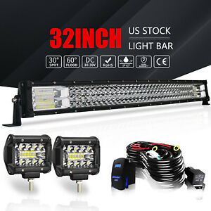 30 Tri Row Led Light Bar Curved 441w Combo Work Pods Offroad Driving Lamp 32 34