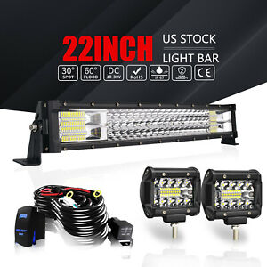 22 Tri Row Led Light Bar Curved 306w Combo Work Pods Offroad Driving Lamp 20 24