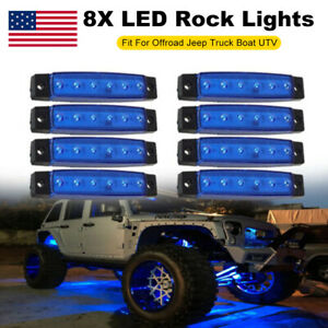 8x Blue Led Clearance Side Marker Truck Trailer Van Lights Waterproof Lamp 12v