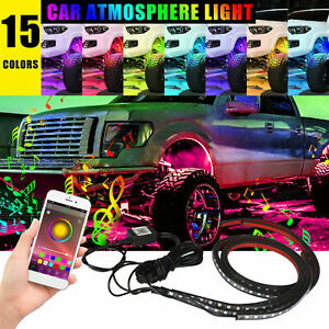 4x Rgb Led Strip Under Car Tube Underglow Underbody System Neon Music Light Kit