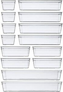 14pcs Clear Plastic Drawer Organizer Tray For Makeup Utensils Jewelries Gadgets