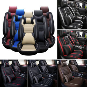 Leather Car Seat Cover Waterproof Universal 5 Seats Full Set Front Back Covers