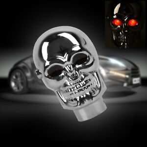 Universal Chrome Skull Gear Shift Knob Manual Lever Stick Red Eyes Led Lights