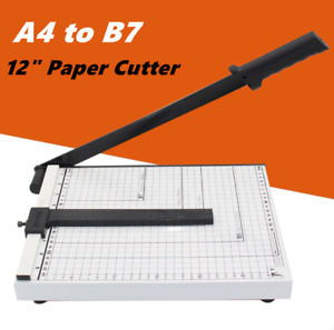 Paper Cutter 12 A4 To B7 Metal Base Guillotine Page Trimmer 12 Sheets Capacity