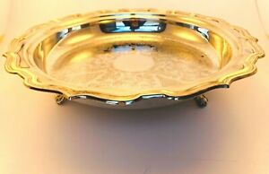 Vintage Leonard Silver Plate Footed Round Etched Serving Tray Stamp Marked12 5