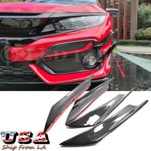 4x Carbon Fiber Front Bumper Canards Diffuser Lip Splitter Fins For Honda Civic