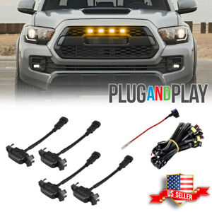 Smoked Lens Amber Led Front Grille Light For 16 up Toyota Tacoma W trd Pro Grill