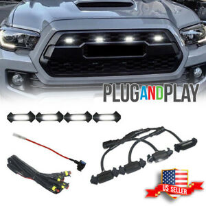 4x Raptor Style White Led Lamps Front Grill Lights Kit For 2016 Up Toyota Tacoma