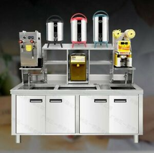 Custom Made Stainless Steel Prep Table beverage Workstation W Sink Ice Box