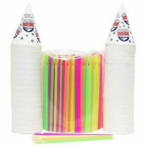 Heavy Duty 200 Snow Cone Cups 6 Oz And 200 Spoon Straws Assorted Sizes