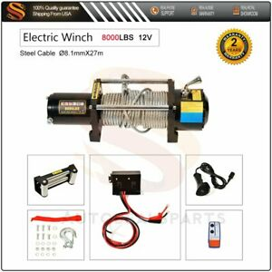 8000lbs 12v Electric Winch Steel Cable Rope Atv Utv Truck Off Road Usa