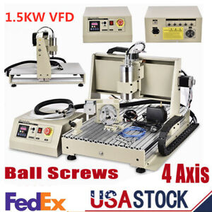 Usb 4 Axis Cnc6040 Router Engraver Milling Engraving Machine Vfd Spindle 1500w