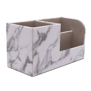 Marble Desk Organizer Pen Holder For Office Supplies Stationery Faux Leather