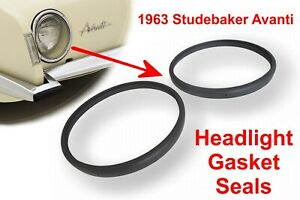 Studebaker Avanti 1963 Avanti Round Headlight Glass Lens Edge Seal Gasket Pair