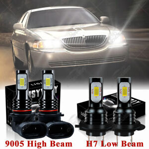 For Lincoln Town Car 2003 2011 4pc 6000k Led Headlight Bulb High Low Beam Kit