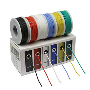 Hook Up Wire Kit 30 Gauge Flexible Silicone Rubber Electric Wire 6 Colors 32 8ft