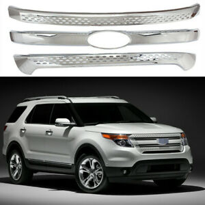 Fit For 2011 2015 Ford Explorer Front Grill Covers Snap On Grille Overlay Chrome