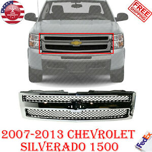 Front Grille Chrome Shell Insert Textured For 2007 13 Chevrolet Silverado 1500