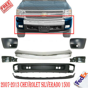 Front Bumper Chrome Steel Kit End Caps For 2007 2013 Chevrolet Silverado 1500